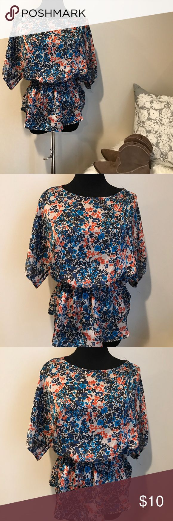 Floral top by mossimo orange blue so cute ! Super cute batwing top by mossimo excellent condition medium super fast shipping ! Mossimo Supply Co Tops Blouses