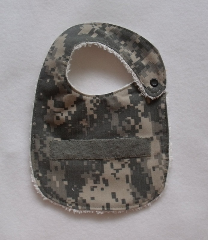 ACU US Army baby newborn bib name tape Upcycled from actual soldiers uniform. $10.00, via Etsy.