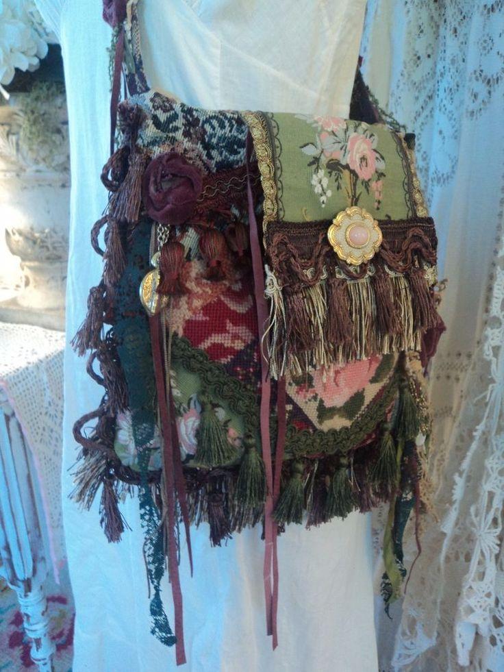 Handmade Shoulder Carpet Bag Needlepoint Fringe Gypsy Vintage Boho Purse tmyers #Handmade #Victorian