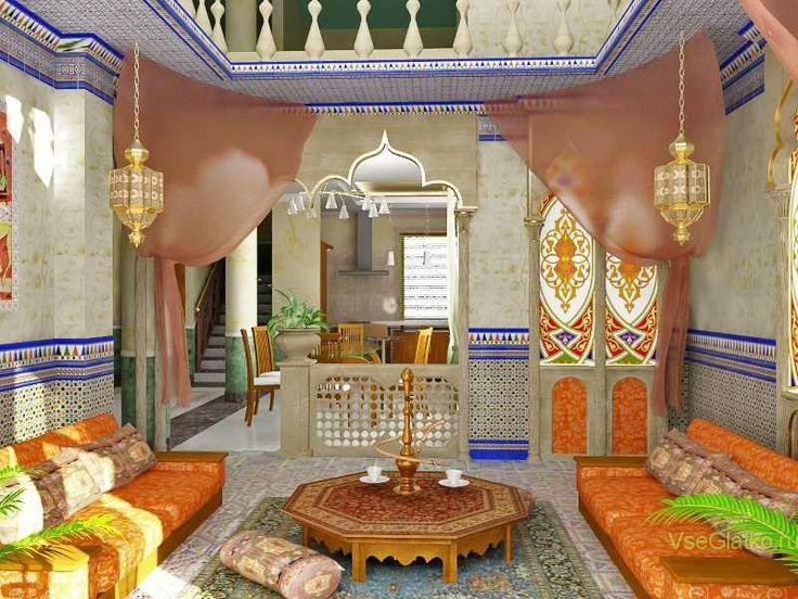 Индийский стиль в интерьере гостиной-1