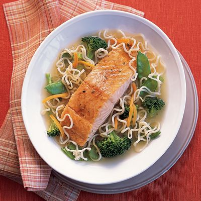 How to make ramen fancy? Add salmon. Get the recipe from Delish.   - Delish.com