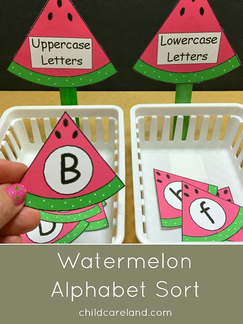 Watermelon alphabet sort for letter recognition and review.  Children sort upper and lowercase letters.