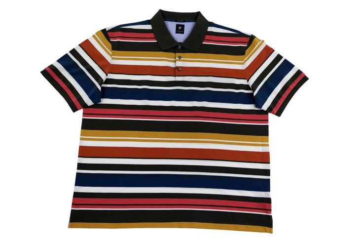 Polo Pierre Cardin w różnobarwne  paski. Dostępna rozmiarówka: 3XL, 4XL, 5XL, 6XL, 7XL, 8XL. Skład: 100% bawełna.