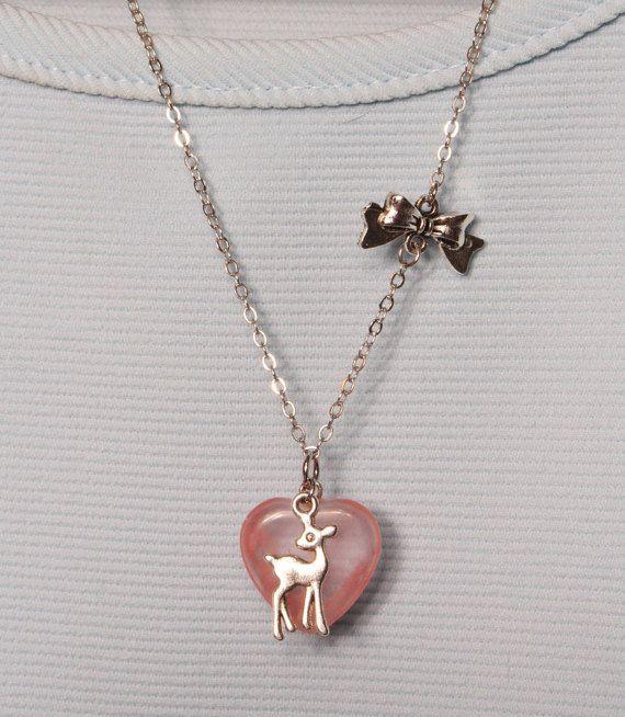 pendentif coeur en pierre prcieuse rose et faon pink gemstone heart pendant with foan - 45 Ans De Mariage Pierre Precieuse