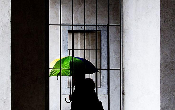 franco maffei yellow, green and blue umbrella