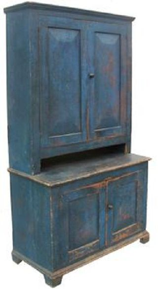 Early 19th century New York State, Stepback Cupboard, with wonderful original blue paint,...