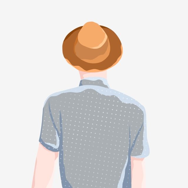 Back View Of Man Character Wearing Straw Hat Hand Painted Cartoon The Man Png Transparent Image And Clipart For Free Download Man Character Straw Hat Hats