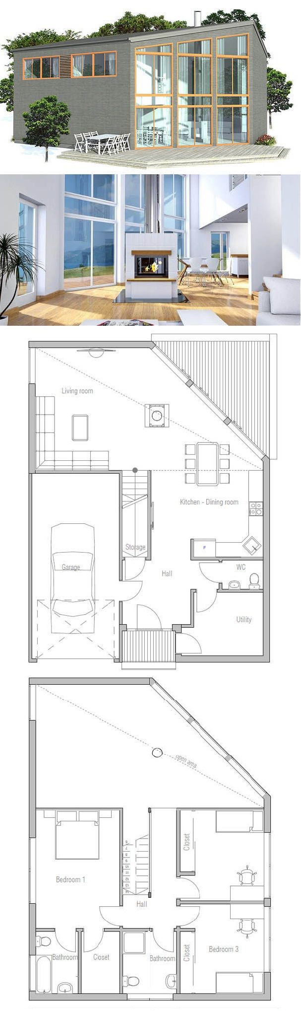 Modern House Plan 2 glassed levels #twostoreyhomeplans