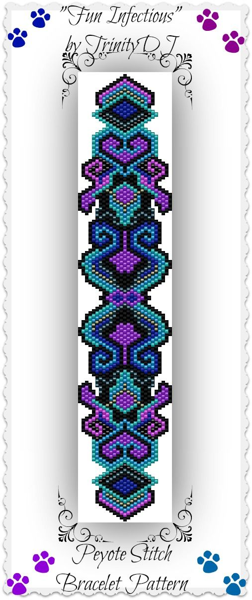 """New Peyote stitch bracelet pattern listed in my Etsy shop - """"Fun Infectious"""" - I designed this bracelet so it could be stitched up quickly for those of you who asked for patterns that will go fast as you want to stitch a couple for Christmas gifts. Hope you like it. Please follow this link for the direct download: https://www.etsy.com/listing/169194717/bp-pey-013-fun-infectious-peyote-stitch"""