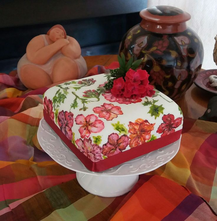 Lola's Delights hand-painted Christmas fruit cake with geranium flowers