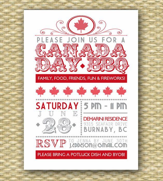 Vintage Canada Day BBQ Invitation - Typography Poster -. $18.00, via Etsy.