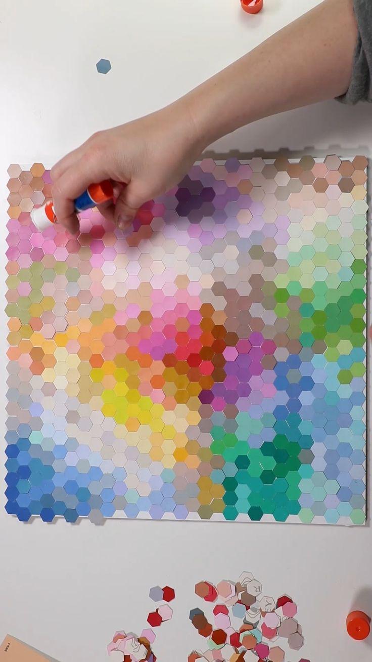 Collage de puce de peinture de champ de couleur abstrait   – Basteln kids
