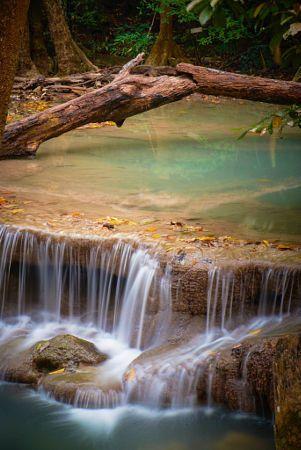 Copyright, 2016. Natalie Uscinas. Cascade at Erawan Falls National Park. Kanchanaburi, Thailand.