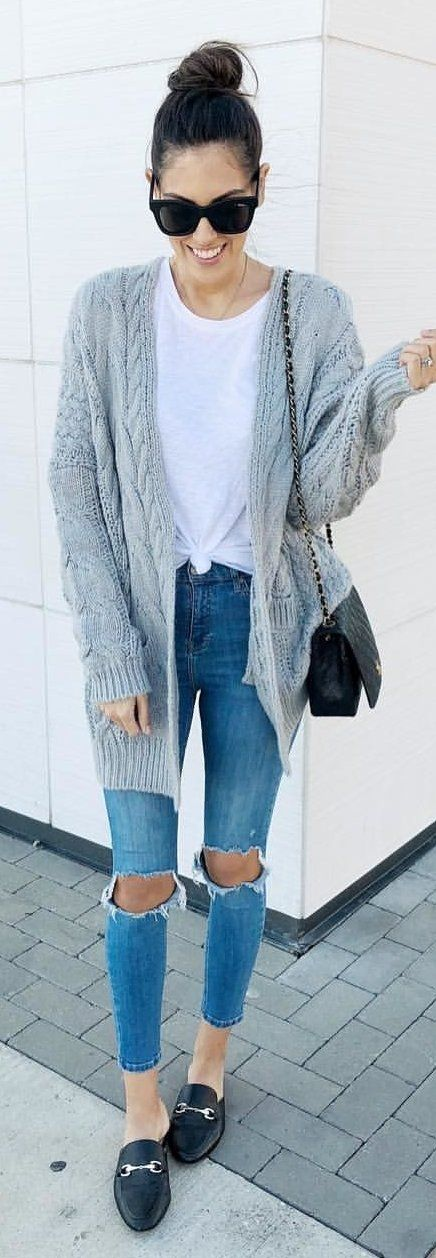 #winter #outfits gray cardigan and blue distress jeans