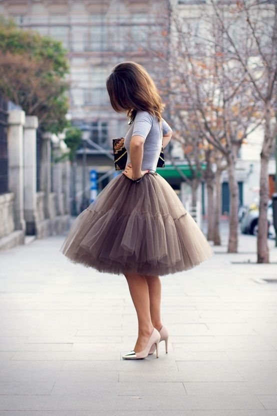 Mocha Very Fluffy Full Layered Petticoat Tulle by Welcometoroyalty