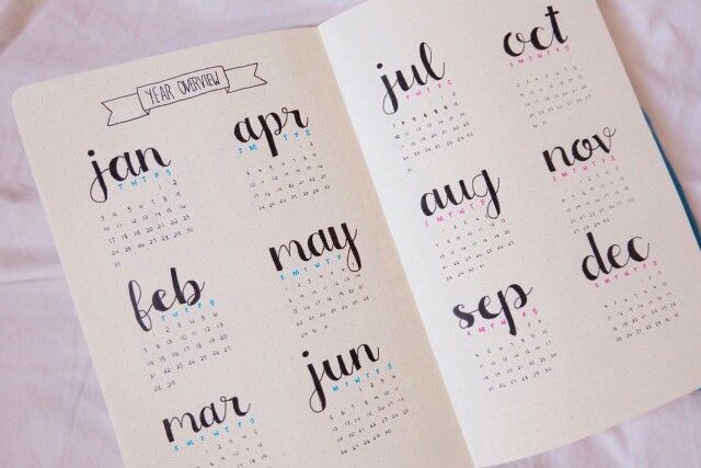 agenda, calendrier, annuel, mise en page, lettering