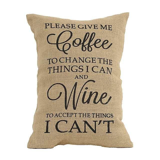 Coffee and Wine Burlap Pillow | Kirklands