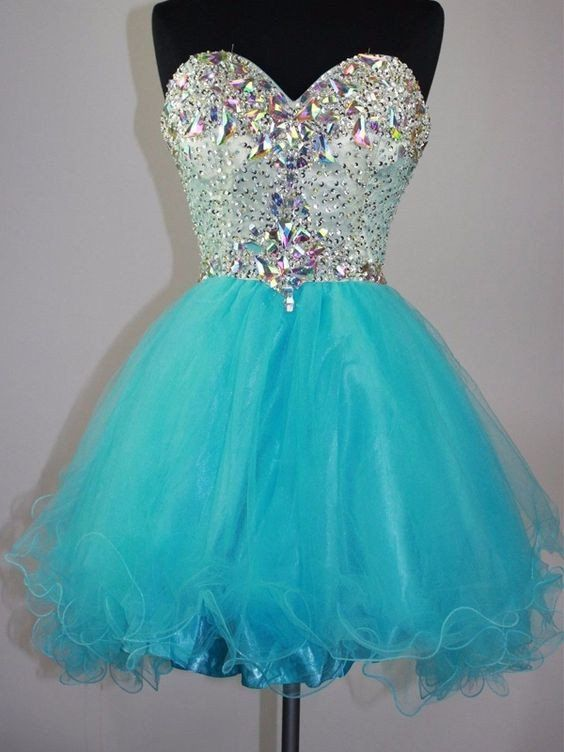 Baby blue organza sweetheart rhinestone short prom dresses, beautiful…