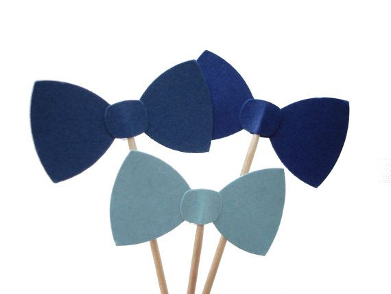 24 gemengde blauw strikje Party Picks Cupcake Toppers, voedsel Picks, tandenstokers, drinken aanraders - party supplies - No199