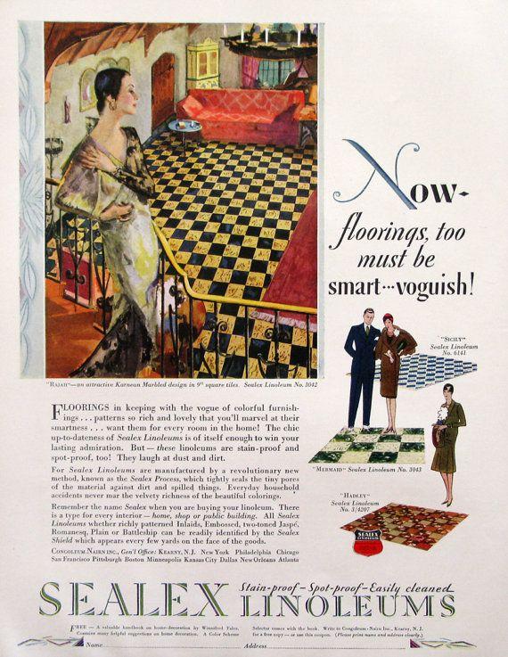 Vintage 1929 Sealex Linoleum floors advertisement Now floorings, too must be smart - voguish! A stylish woman surveys her new Rajah Karnean marbled