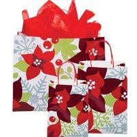 """Cadeaux Tendance - Kit 50 emballages-cadeaux modèle """"Poinsettia"""" format PETIT"""