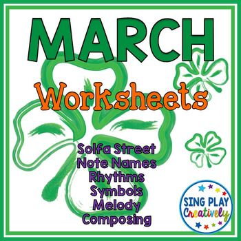 March Music Class Composing and Music Symbol Worksheets K-6 - Cute Solfa street worksheets will offer students opportunities to connect solfege symbols to their pictures. K-6 Application with rhythm and music symbol worksheets.