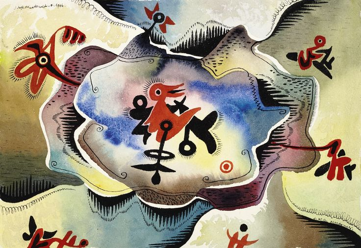 Jock Macdonald Evolving Form. On view through September 7, 2015. Art Gallery of Greater Victoria, Victoria, British Columbia www.aggv.ca  Image credit: Jock Macdonald, Orange Bird, 1946 | watercolour, ink on paper | Collection of The Robert McLaughlin Gallery, Oshawa Gift of M. Sharf, 1983..