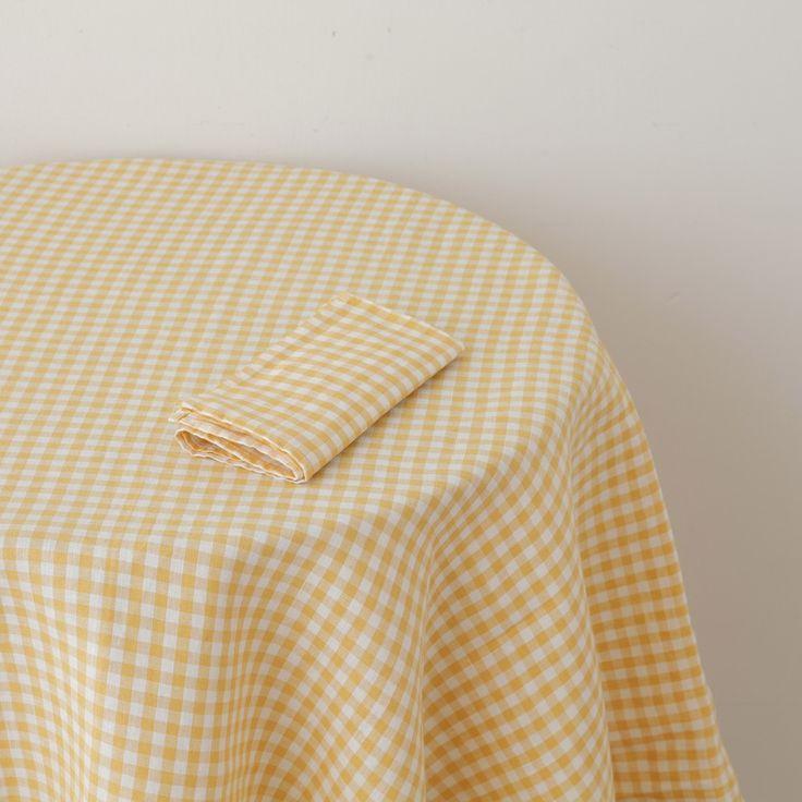 Shop Fog Linen U2014 Tablecloth: Yellow Check