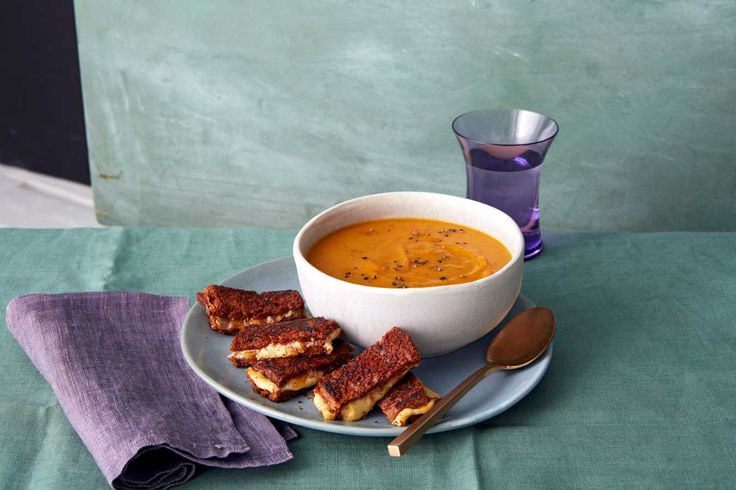 Kuri Squash Soup with Grilled Cheese Sticks.