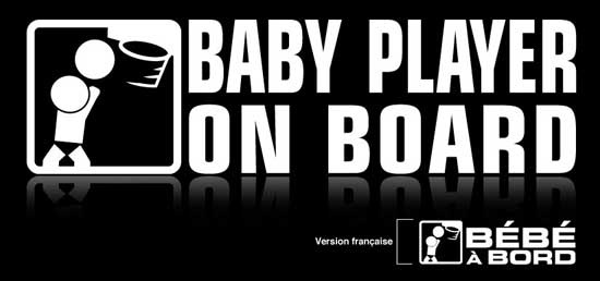 """Baby on board sticker. This baby basketball player on board is a premium quality car decals. Size : 8"""" x 2.33"""" Price : $5.49 us with free shipping. From www.baby-onboard.com/baby-on-board-catalog.html"""