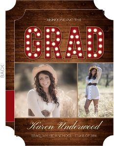 Rustic Wood Marquee Graduation Photo Announcement