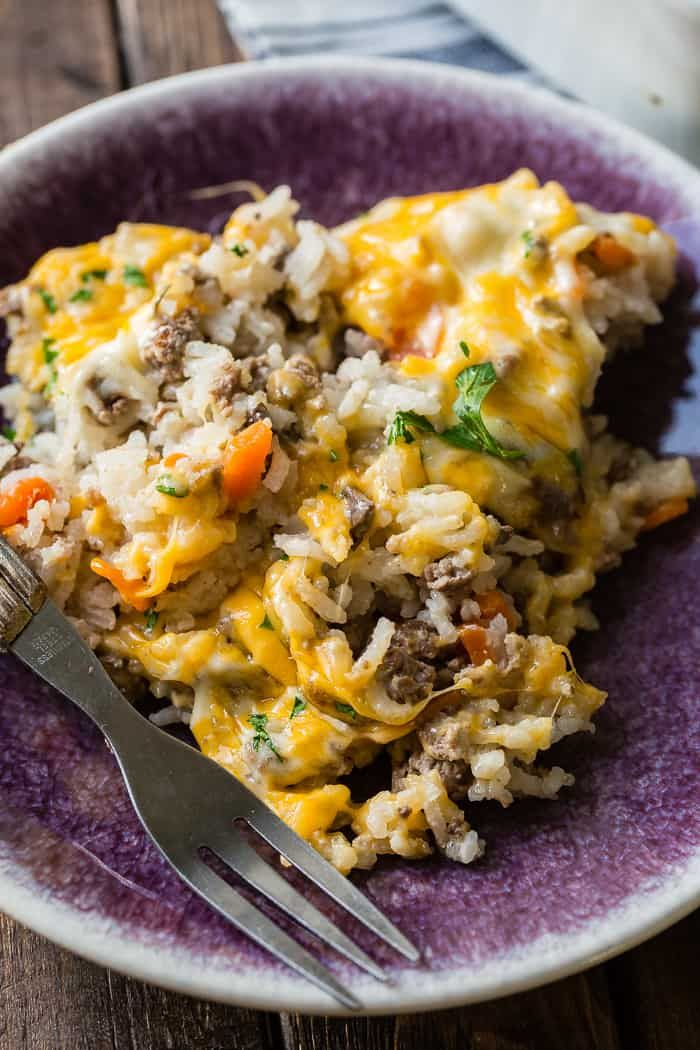 Cheesy Ground Beef And Rice Casserole Oh Sweet Basil Recipe Beef Dinner Dinner With Ground Beef Ground Beef Recipes Easy
