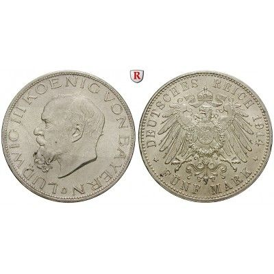 Deutsches Kaiserreich, Bayern, Ludwig III., 5 Mark 1914, D, vz-st, J. 53: Ludwig III. 1913-1918. 5 Mark 1914 D. J. 53;… #coins