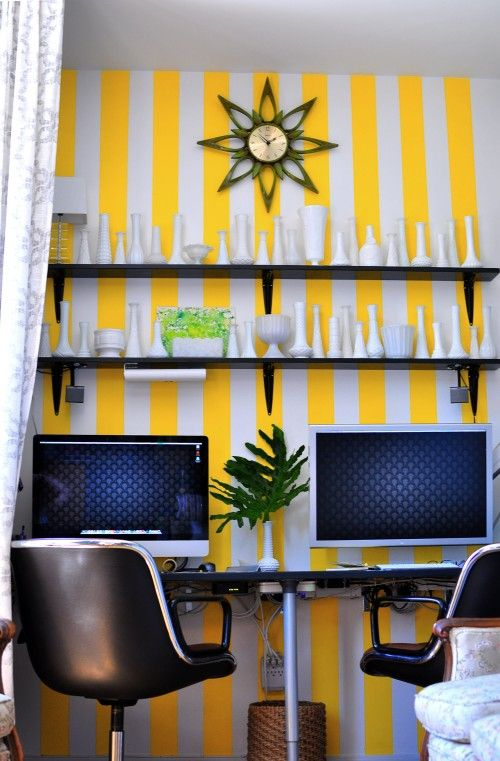 This home office is so bright and cheery
