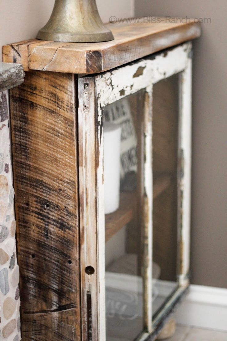 Love ! DIY::Barn Wood + Old window = Beautiful New (NO Cost)  Barn wood Cabinet ! Full Tutorial by Bliss Ranch