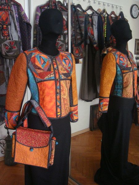 Interesting colour combinations in this wearable art jacket and matching bag