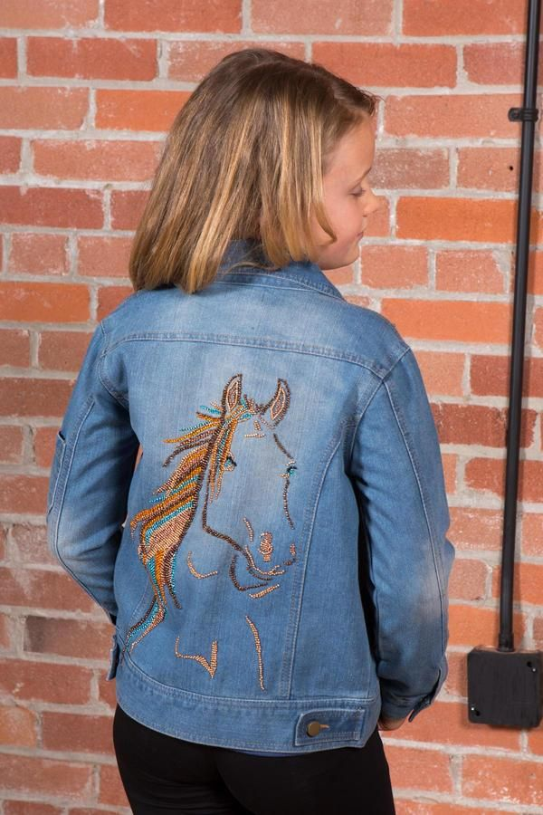 Just for girls who love horses - hand beaded Jean Jacket for girls