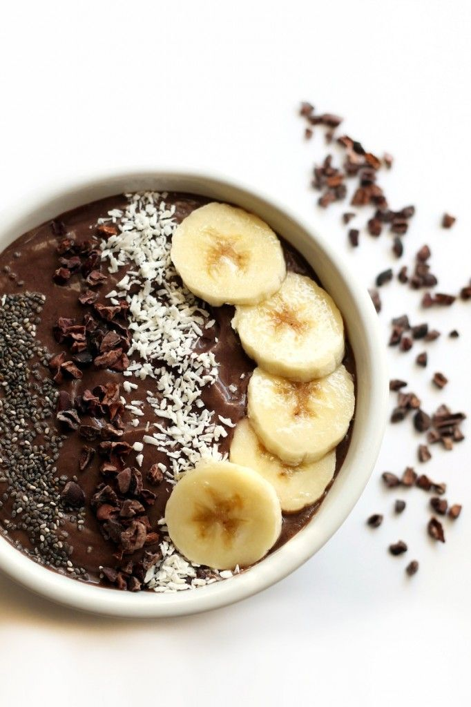 Banana Cacao Avocado Acai Bowl #recipe #healthy #breakfast avocado into pudding for vegans