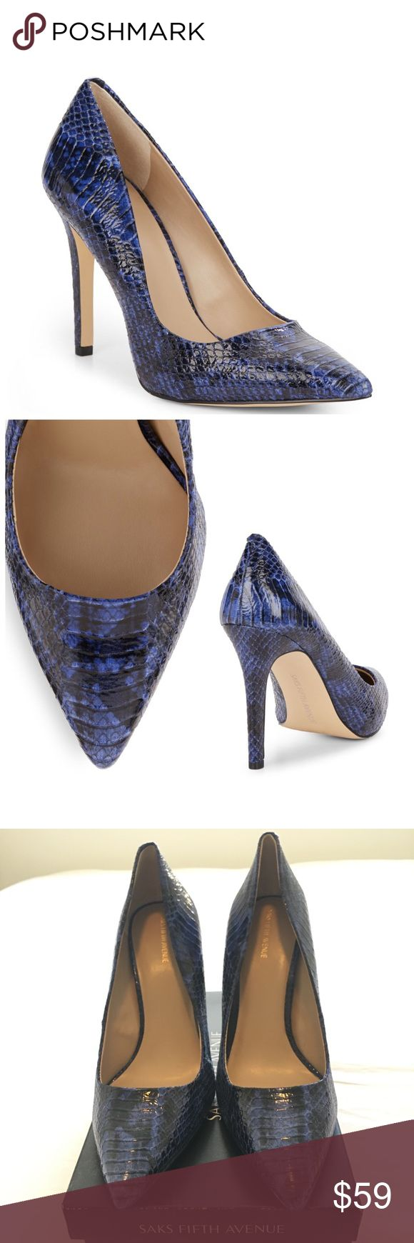 "NEW! Saks Fifth Avenue Cathy Snakeskin Pump Saks Fifth Avenue Cathy Snakeskin Pump DETAILS:  Size: 10 Heel: Approx. 4"" (100mm)  Color: Multi color (blue/black or very dark blue)  Material: Man made.  Snakeskin print.   Condition: Never worn/NWT includes box.  NOTE - everything in my closet is 100% authentic.  Open to offers. I always respond with my best and final. Please feel free to ask questions.  All sales are final. Saks Fifth Avenue Shoes Heels"