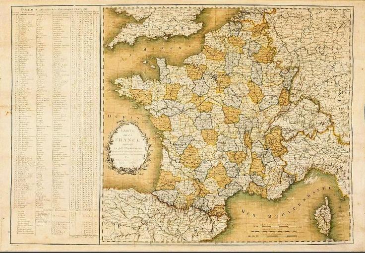 Carte de France divisée en 98 départements par Belleyme (ingénieur géographe et cartographe de l'Ancien Régime à l'Empire) datant de 1798. Gravure, 51 X 73 cm Archives nationales, NN/62/2 © Archives nationales, France