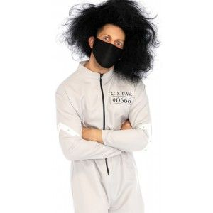 Mental Patient Mens Halloween Costume Our Price $60.00  This 2 piece Mental Patient costume is made in men's sizes but truthfully is unisex. The zipper front straight jacket jumpsuit has snap accents and #0666 print on front and back. Comes with the black face mask. Add a crazy wig or tease your own hair and you have a complete costume.  Other items shown sold separately.  #cosplay #costumes #halloween