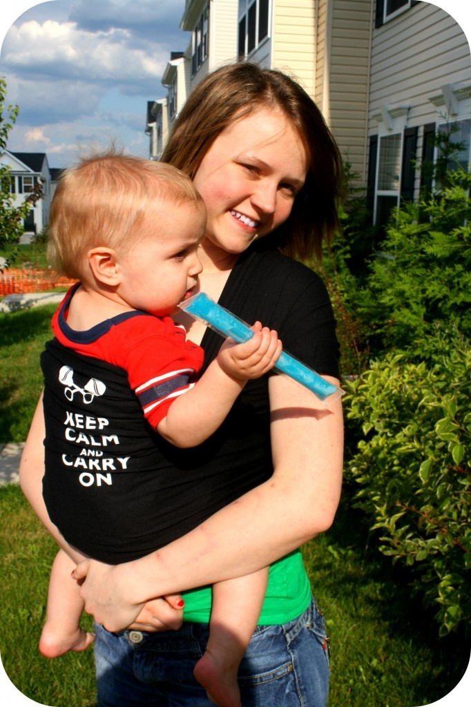 "Skye babywearing in our ""keep calm and carry on"" wrap, Little D's Signature Baby Carrier"