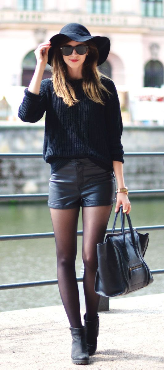 American Apparel sweater + H&M shorts + Vagabond boots Choies black felt fedora hat + Celiine bag