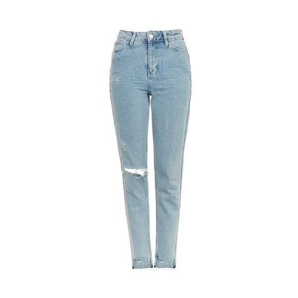TopShop Moto Step Hem Mom Jeans (130 BRL) ❤ liked on Polyvore featuring jeans, pants, bleach stone, bleached jeans, tapered leg jeans, high-waisted jeans, blue high waisted jeans and high waisted bleached jeans