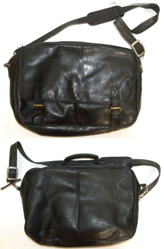 Vintage Black Leather Messenger Bag / attaché / Soft Side /