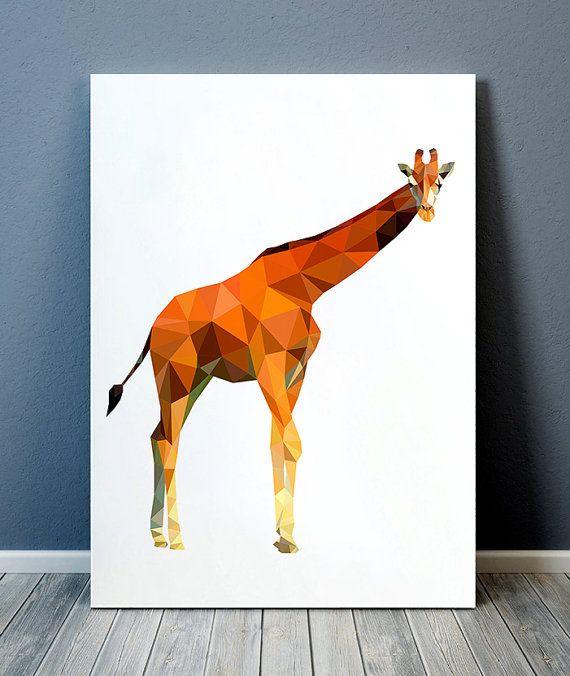 Tierdruck-Tierkunst Giraffenplakat geometrischer Druck TOA291