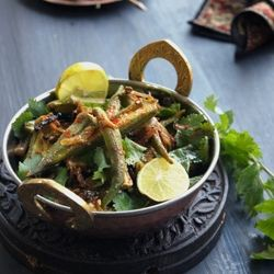 Bhindi Do Pyaza directly translates to Okra cooked with twice or double  amount of onions;lot of onion to be precise.