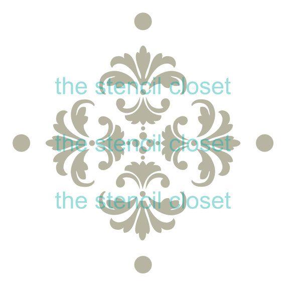 plantilla de gran diamante Damasco 6 x 6 por TheStencilCloset