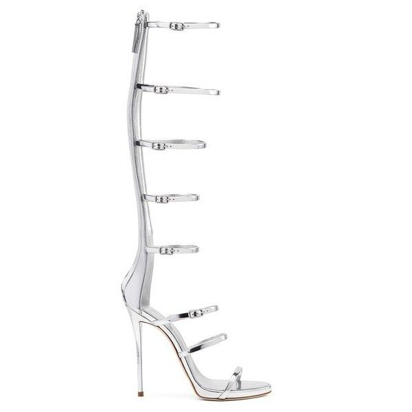 Giuseppe Zanotti Super Harmony ($907) ❤ liked on Polyvore featuring shoes, sandals, silver, strappy sandals, giuseppe zanotti sandals, strappy high heel sandals, high heels sandals and zip back sandals
