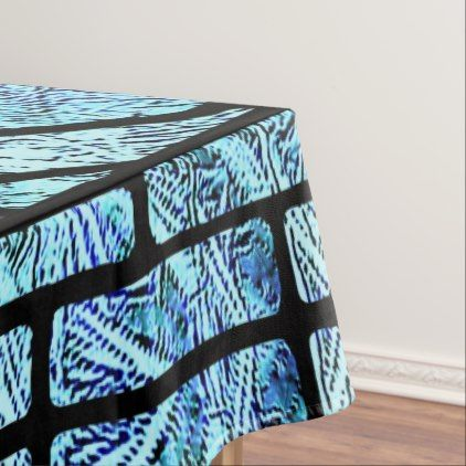 Stained Glass Victorian Design in Blue and Green Tablecloth - vintage gifts retro ideas cyo